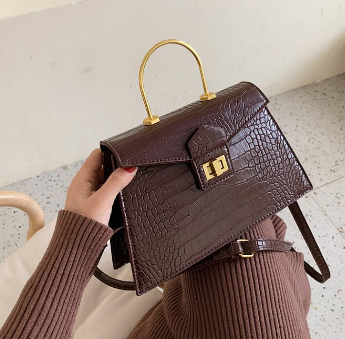 Designer Women Senior Handbags Fashion Alligator Shoulder Bags Metal Hand Ring Crossbody Women Bags New Style Bag High Quality