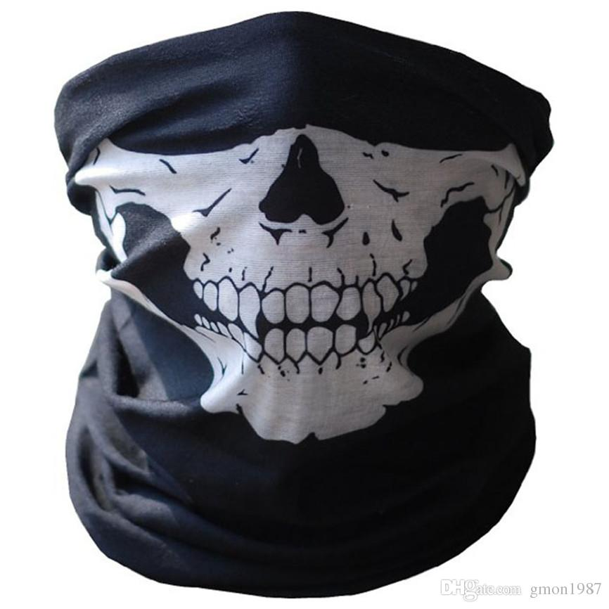 2019 Hot Skull Face Mask Outdoor Riding Mask Bicycle Ski Skull Half Face Mask Ghost Scarf Multi Use Neck Warmer COD Oct#2