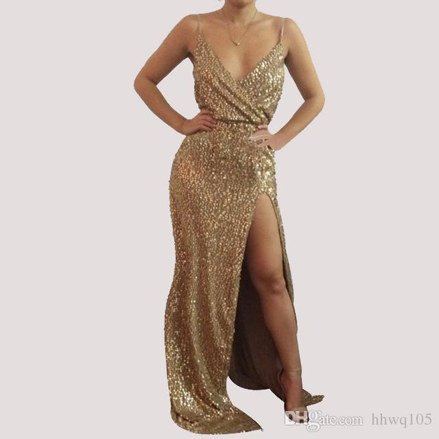 Crazy2019 Women's Gold Sequin Evening Gown Dress Sleeveless V-Neck Split Maxi Formal Prom Dress Ladies Cocktail Party Dress Clubwear LJE1107