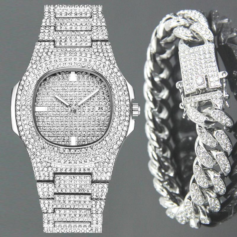 Reloj de diamantes de la moda hacia fuera helado de la pulsera de Hip relojes de cuarzo de Micropave CZ cadena Hop Cubano impermeable del relogio Reloj de Hombres Mujeres