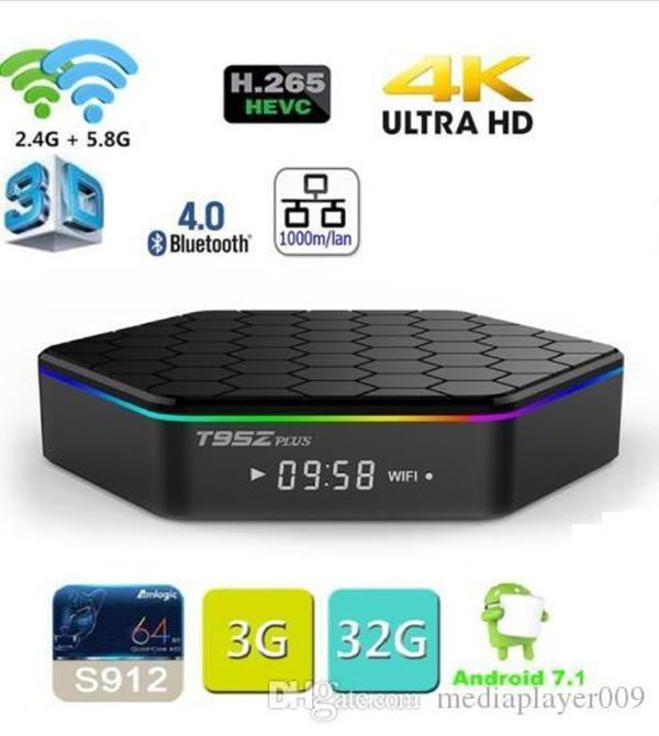 T95Z Plus Smart TV BOX 2GB/16GB 3GB/32GB Amlogic S912 Octa Core Android 7.1 TVBOX 2.4G/5GHz WiFi BT4.0