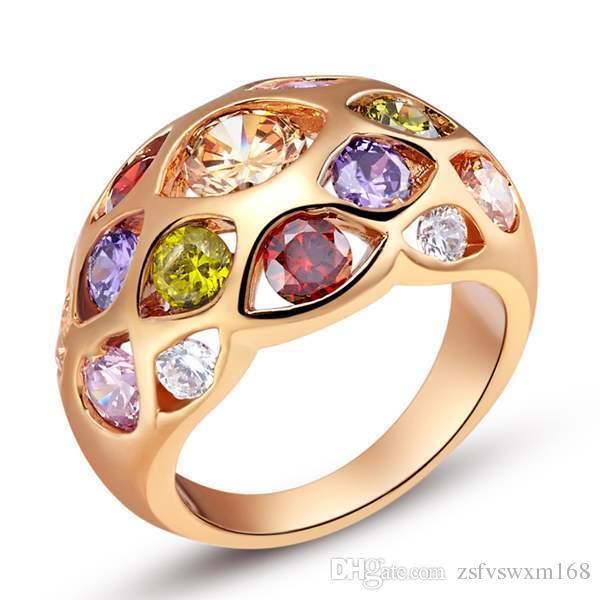 صديقة للبيئة النحاس مطلي 18 كيلو الذهب اللون الأحجار الكريمة الدائري الذهب والفضة 925 خاتم الديكور الفضة