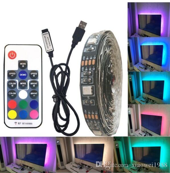 DC 5V USB LED Strip 5050 Waterproof RGB LED Light Flexible 5M add 3 17Key Remote For TV Background Lighting