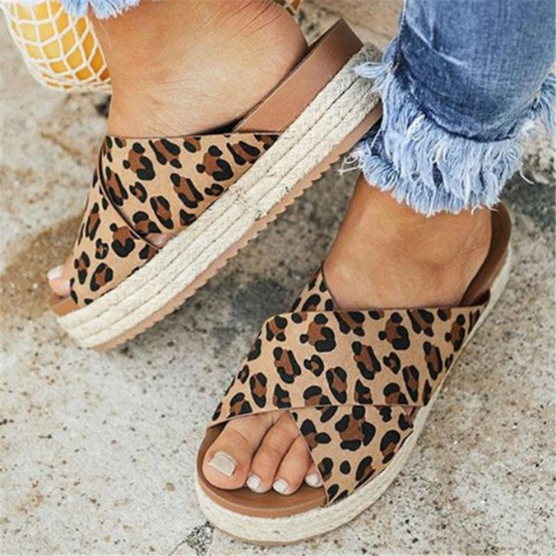 Ladies Leopard Print Thick Gladiator Soft Sandals INS Beach Flip Flops Decoration Summer Sandals Women Casual Party Shoes 35-43