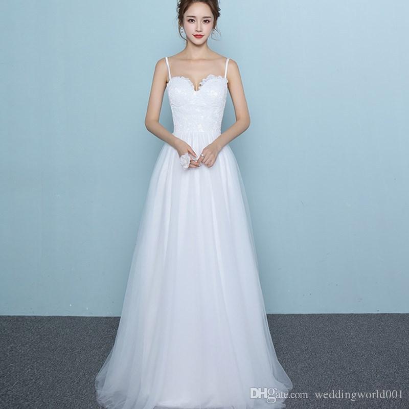 الدانتيل الأبيض ثوب الزفاف السباغيتي طوق العروس اللباس الكاحل طول شاطئ فستان على شكل قلب الزفاف شحن مجاني