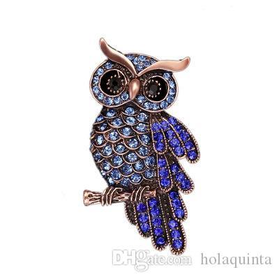 Chouette coréenne en alliage de zinc des femmes anciennes à la mode imitation strass bleu broche badge cadeaux de Noël accessoires
