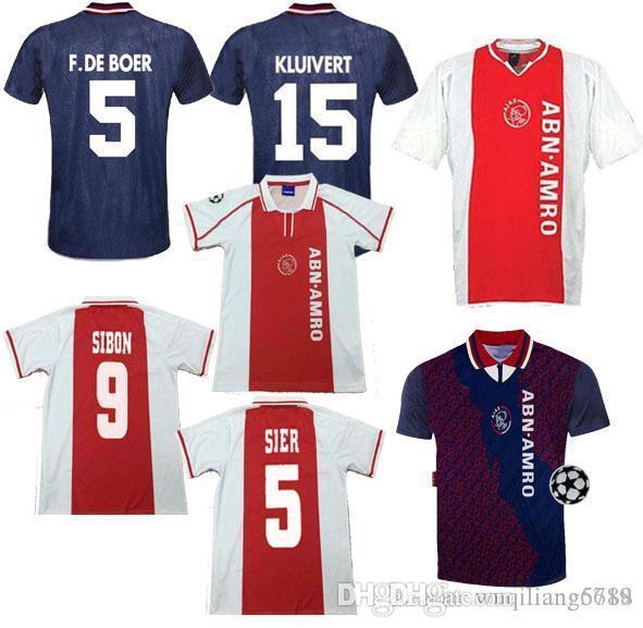 04 05 Ajax Red Retro Edition Soccer jerseys 94 95 Ajax RIJKAARD KLUIVERT DE BOER SEEDORF DAVIDS Football shirt uniform