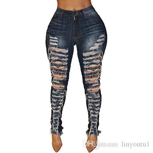 2020 Женщины моды с низкой талией Ripped Hole Узкие джинсы рваные джинсы женские Rock Jean Полная длина Темно-синий Брюки S-XXL