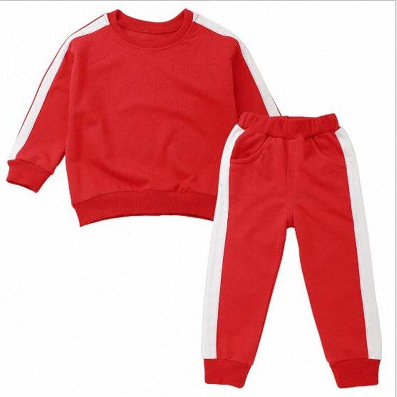 2020 2020 Yeni Geliş Bahar Çocuk Eşofman Bebek Erkekler Kızlar Giyim Seti Gömlek Jumper + Pantolon Moda Çocuk Spor Suit dVVr #