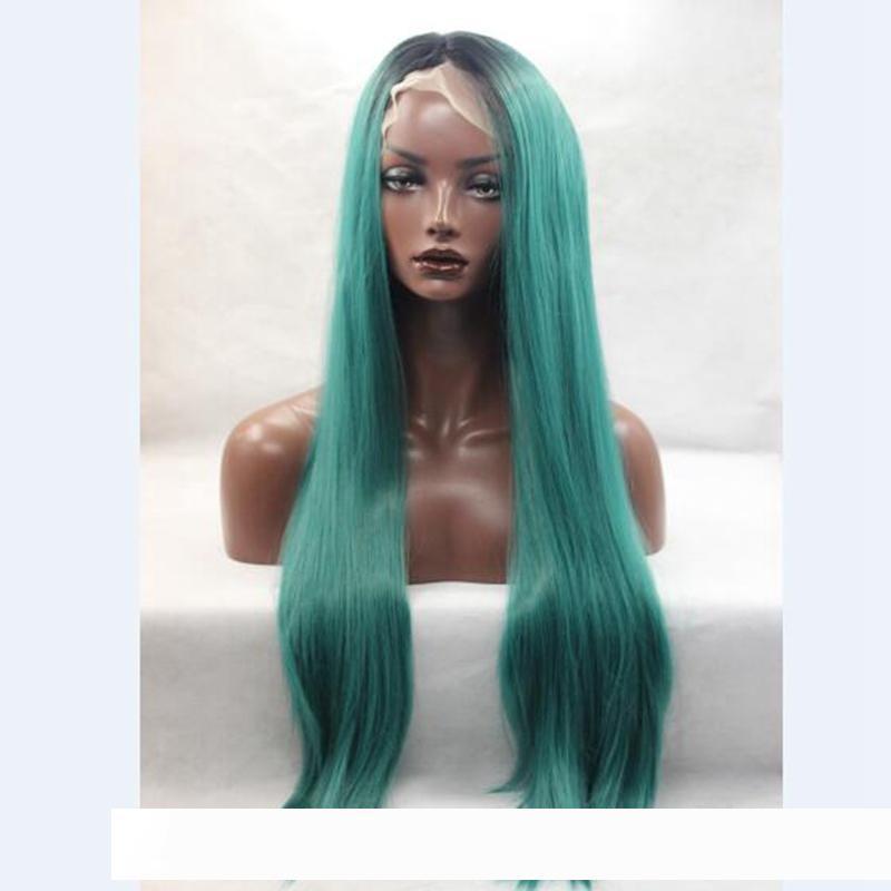 Natural Fashion Lace Hetero Synthetic pelucas Frente peruca Glueless Ombre Preto Verde Africano americano Wigs Calor H resistente