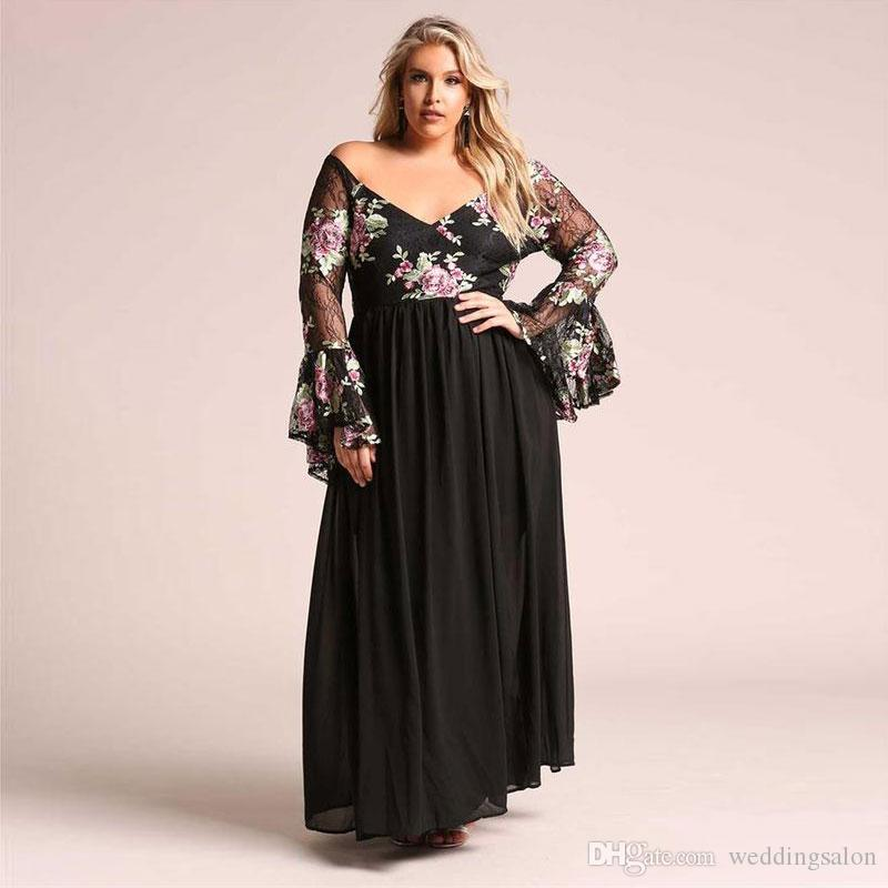 Chic Black Lace Plus Size Prom Dresses A Line Off The Shoulder Neck  Appliqued Evening Gown Floor Length Chiffon Long Sleeves Formal Dress Plus  Size ...