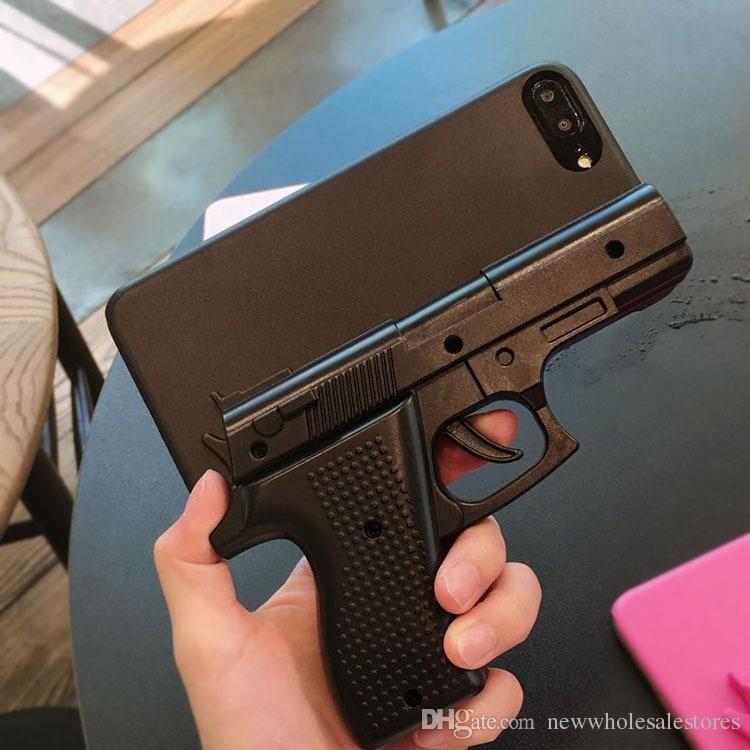 Cubierta de la caja del teléfono duro con forma de pistola 3D para iPhone 5S 6 6S 7 8 Plus X XS XR MAX
