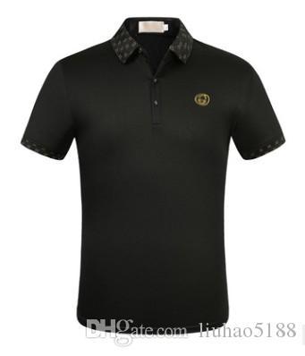 2020 Streetwear Hip hop nuovo di marca dello stilista di Business Casual breve lettera del manicotto ricamo bavero Polo T-shirt Tee Tops H8086