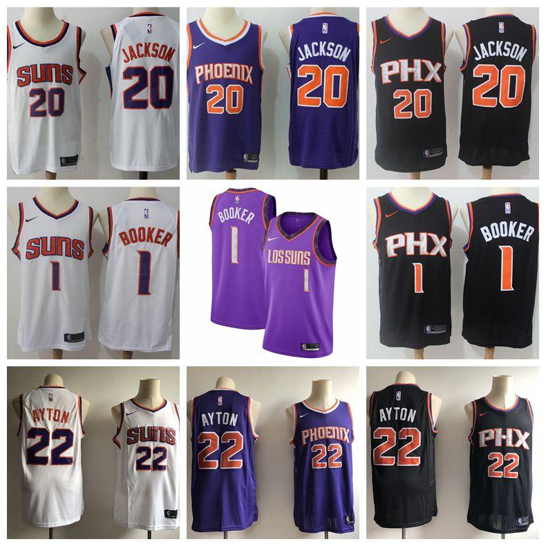 uk availability 63f09 fe5ae 2018 2019 New The City Edition Purple Suns Jerseys Mens Phoenix Suns 1  Devin Booker 22 Deandre Ayton 20 Josh Jackson Basketball Jerseys Stitched  From ...