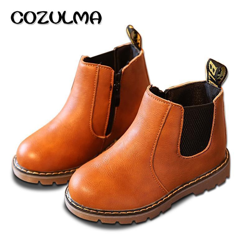 Cozulma Spring Autumn Boys Girls Boots Kids Shoes Children Boys Girls Martin Boots Handmade Leather Boots Baby Boys Girls Shoes Y19051403