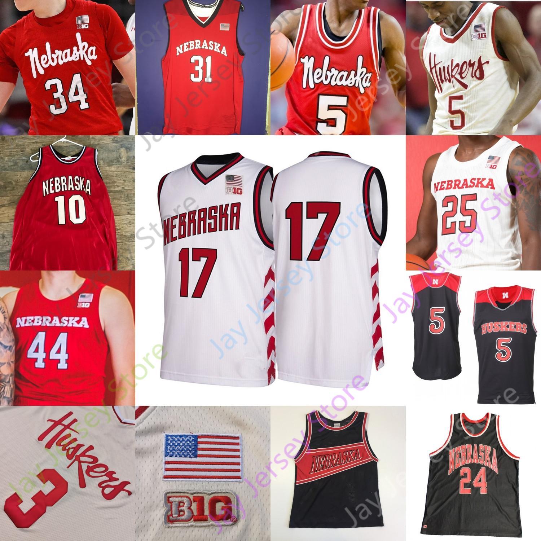 Nebraska Cornhuskers Jersey di pallacanestro NCAA College Dachon Burke Jr. Cam Mack Cheatham Jervay Verde Kevin Croce Matej Kavas Thorbjarnarson