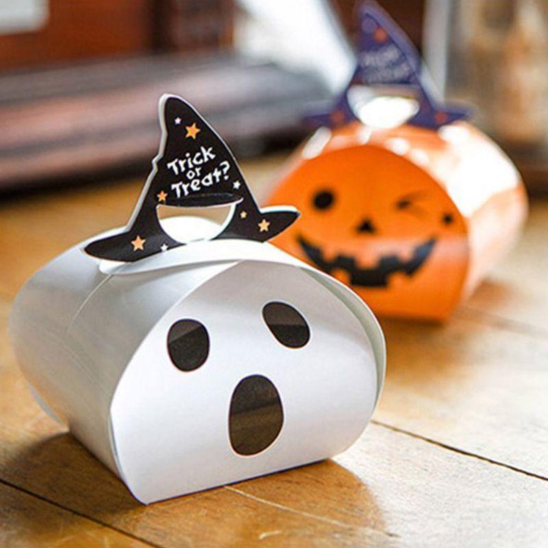 20pc Trick papier Halloween ou un sort bonbons Boîtes fantôme citrouille papier boîte boîte-cadeau X4YD