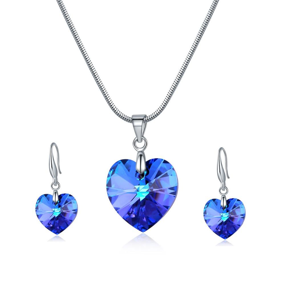 Ms Betti Wedding jewelry sets for brides S925 heart necklace and earring crystal from Swarovski fashion women 2019