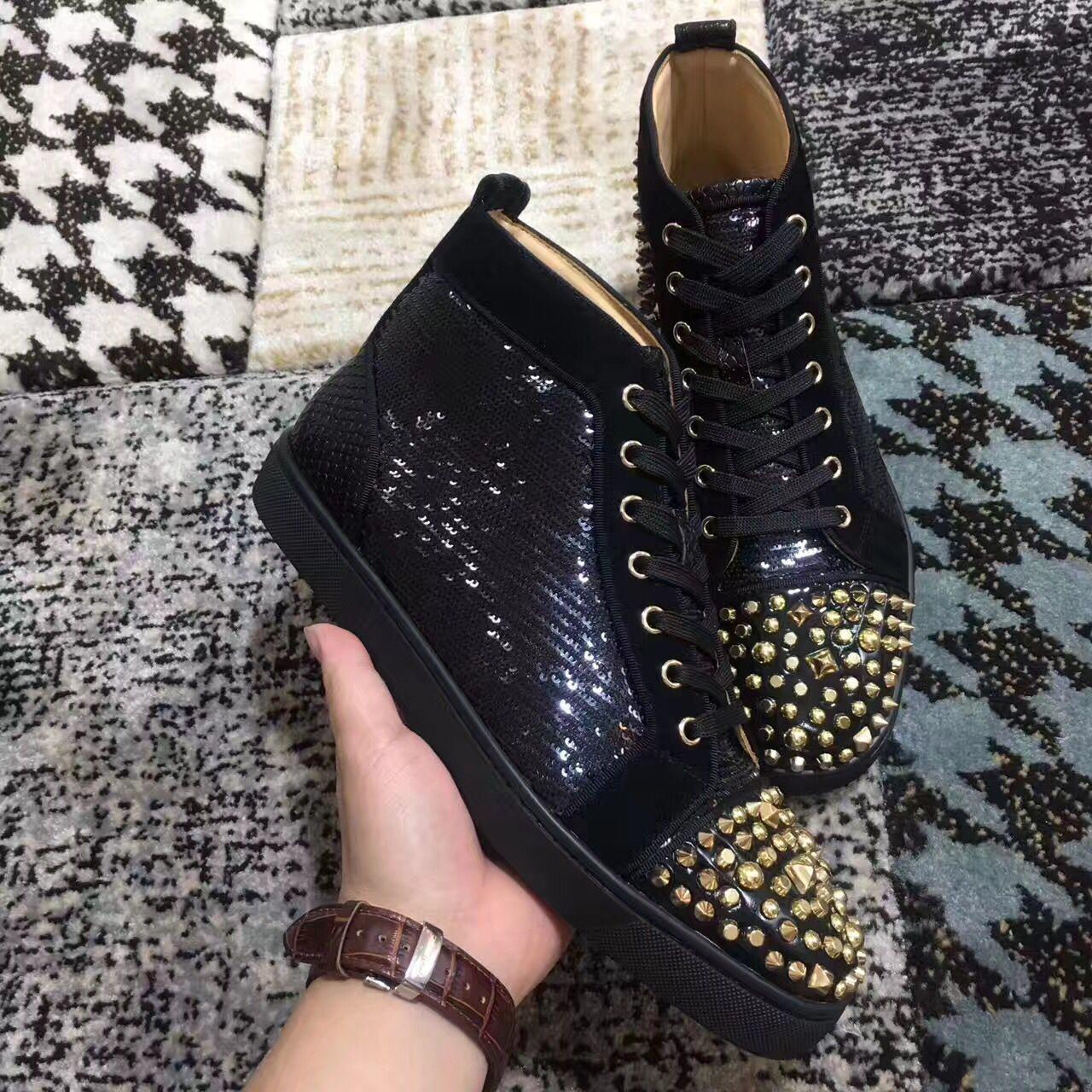 Gold Studs Spikes + Sequin High Top Red Bottom Women,Men Sneakers Shoes Outdoor Red Sole Casual Walking Lace-up Trainers Dress Wedding