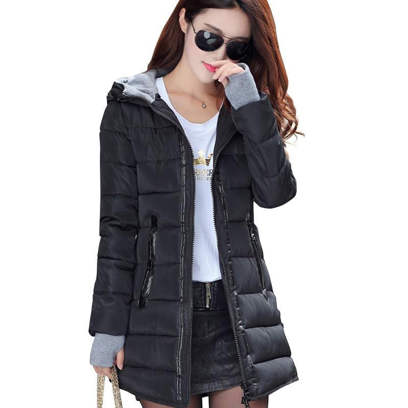 2018 mulheres inverno com capuz casaco quente magro plus size cor dos doces de algodão acolchoado jaqueta básica do sexo feminino médio-longo jaqueta feminina
