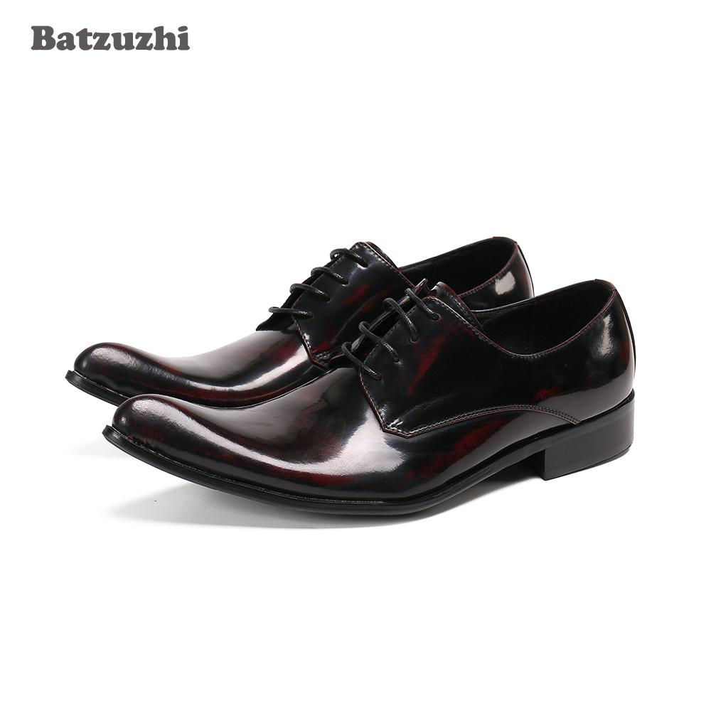 Batzuzhi New Arrival Men's Shoes Pointed Toe Genuine Leather Dress Shoes Men for Business, Party and Wedding Zapatos Hombre