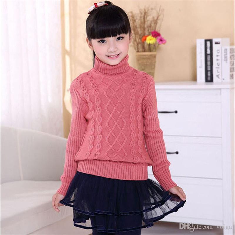 Enfants Pull Automne / Hiver enfants tricotés Pull à col roulé pour Garçons Filles 3 4 5 6 8 10 12 14 ans