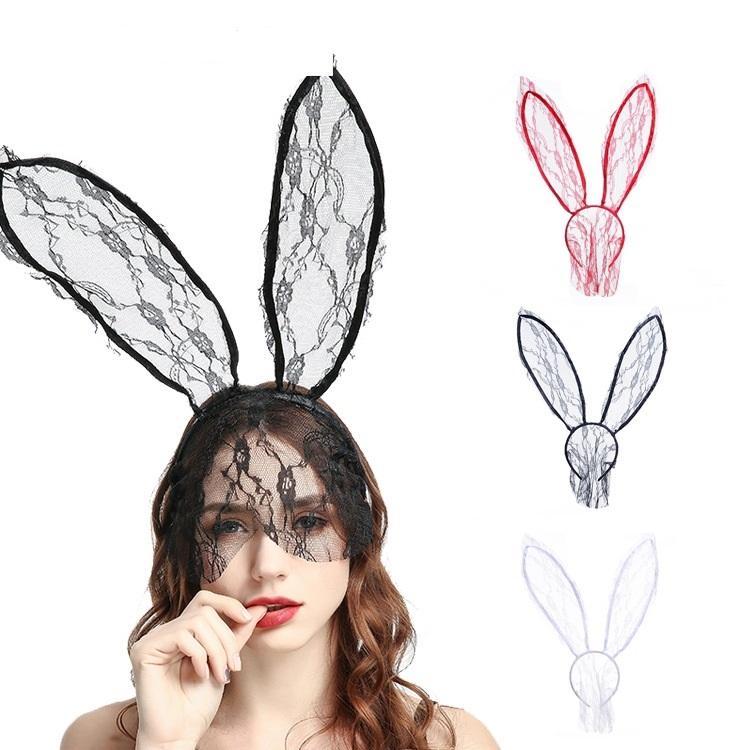 Mode féminine Fille Bandeaux Dentelle Lapin Lapin Oreilles Veil Black Eye Mask Prom Party Chapeaux Accessoires de cheveux