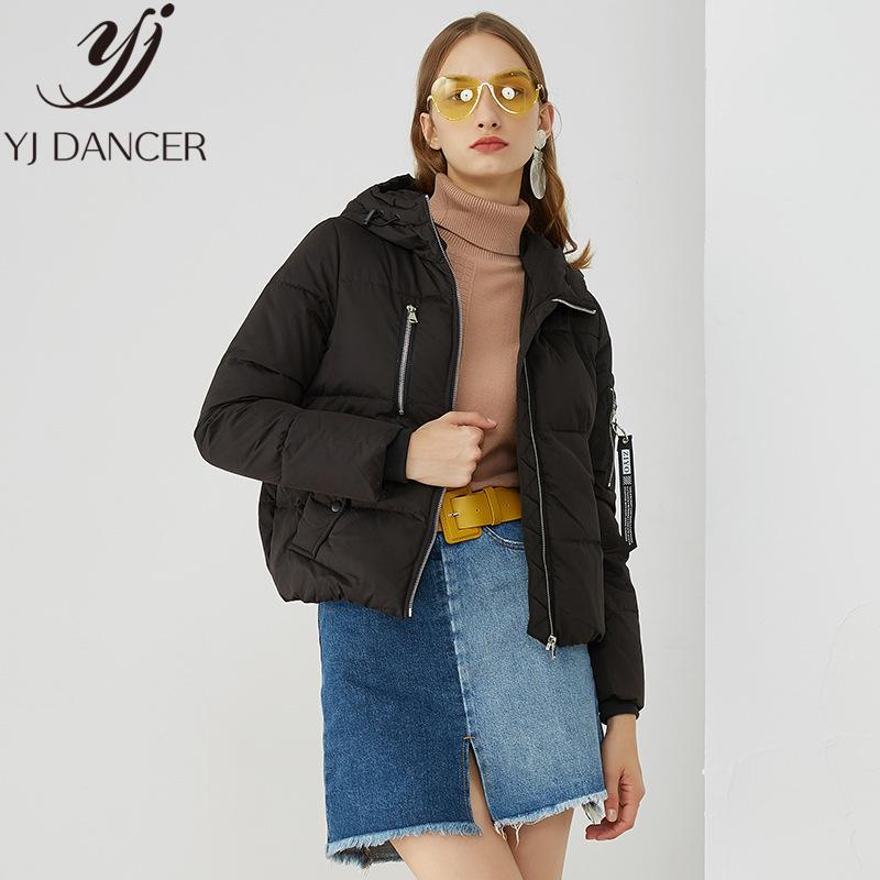 2019 Inverno Mulheres da Moda de Nova Down Jacket Zipper Design Personalizado Overcoat manga comprida revestimento morno para baixo Feminino NICE040