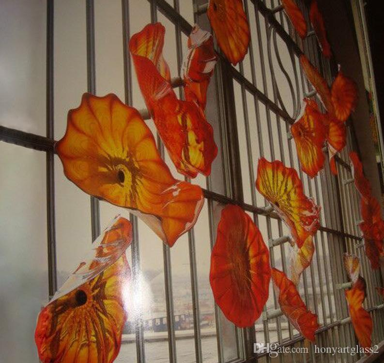 2020 Turuncu Kırmızı Fancy Pretty El Üflemeli Duvar Dekor Cam Tabaklar, Murano Sanat Duvar Asma Özel Renkler Plakalı