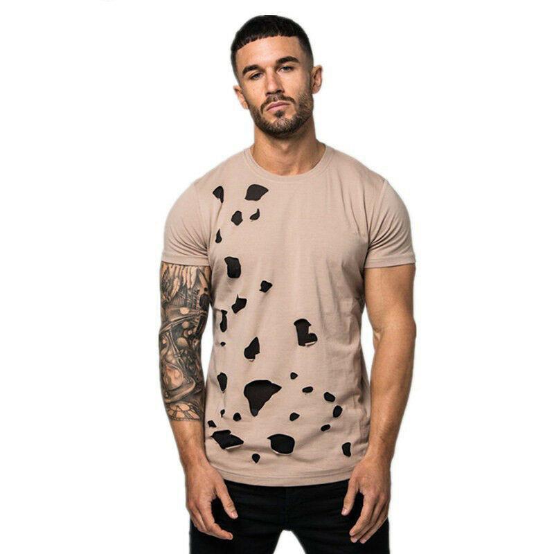 T-shirt do músculo criativo Buraco Net óssea de manga curta T-shirt de New homens de cor sólida Men gasto Tee Verão Top