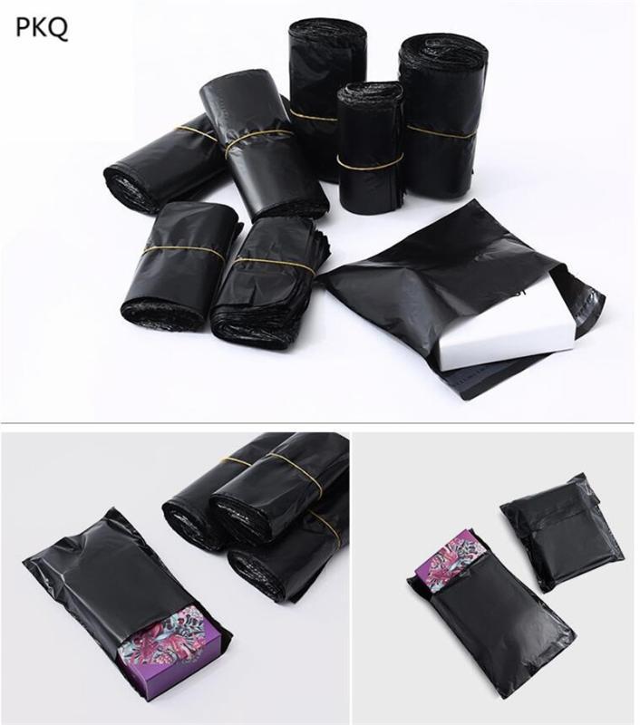 500pcs Hot Mailer Plastic Garments envio Bolsa Poly Mailer Mailing Bags Expresso de caixas de embalagem Envelope saco preto Atacado
