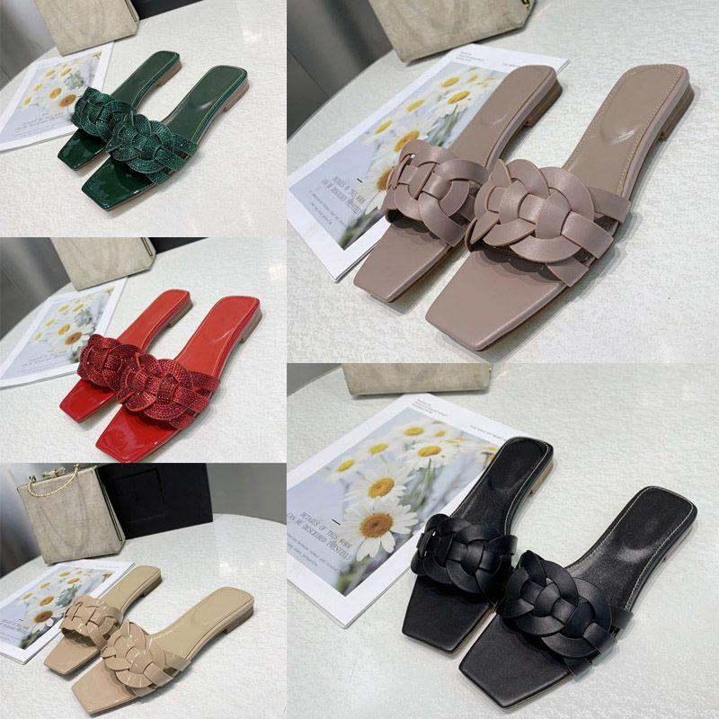 نساء العلامة التجارية الجديدة تحية الصنادل الأحذية المسطحة امرأة الفاخرة الأزياء شبشب السلس شريحة من الجلد مع المتشابكة sandalias الأشرطة