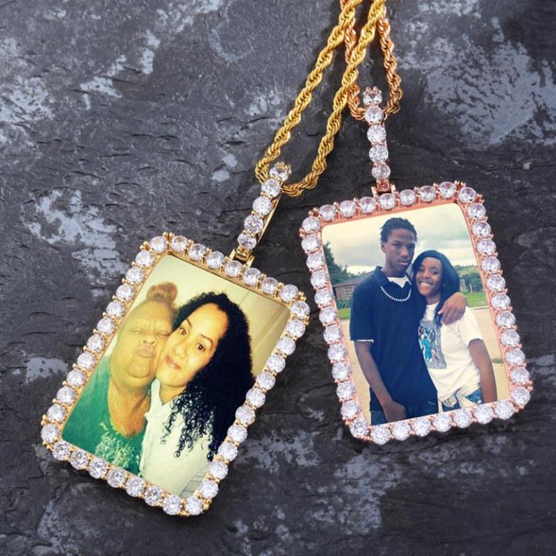 Personalizado foto de la memoria Collares hombres de lujo cuadrado de cobre chapado en oro 18K de las mujeres de la manera pendiente del alto grado de Bling circón Collares Hip Hop