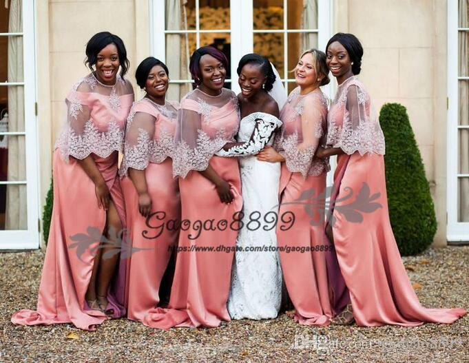 2019 African stain Bridesmaid Dresses tulle Lace wrap Off Shoulder Wedding Guest Dress side split Appliques Blush Party Maid Of Honor Gowns
