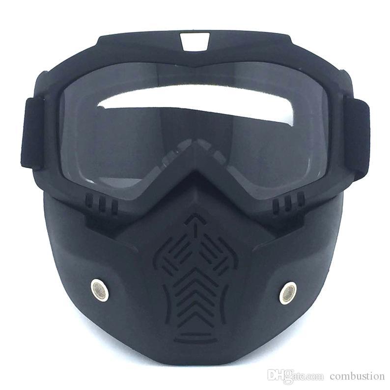 Nova Retro Motocross destacáveis Sports Óculos Capacete Óculos de Rosto Máscara de poeira Filtro