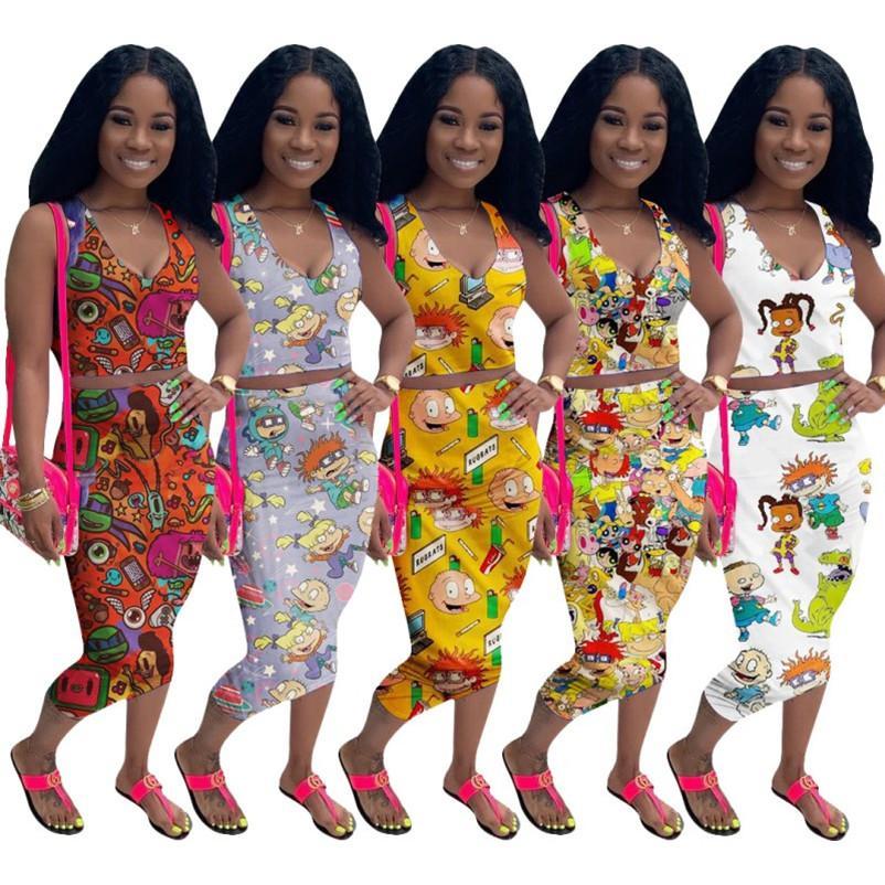 Femmes jupe robes deux robe de morceau sexy dessus des cultures + jupe costume femmes sexy robe club soirée beach party robe vêtements klw3772