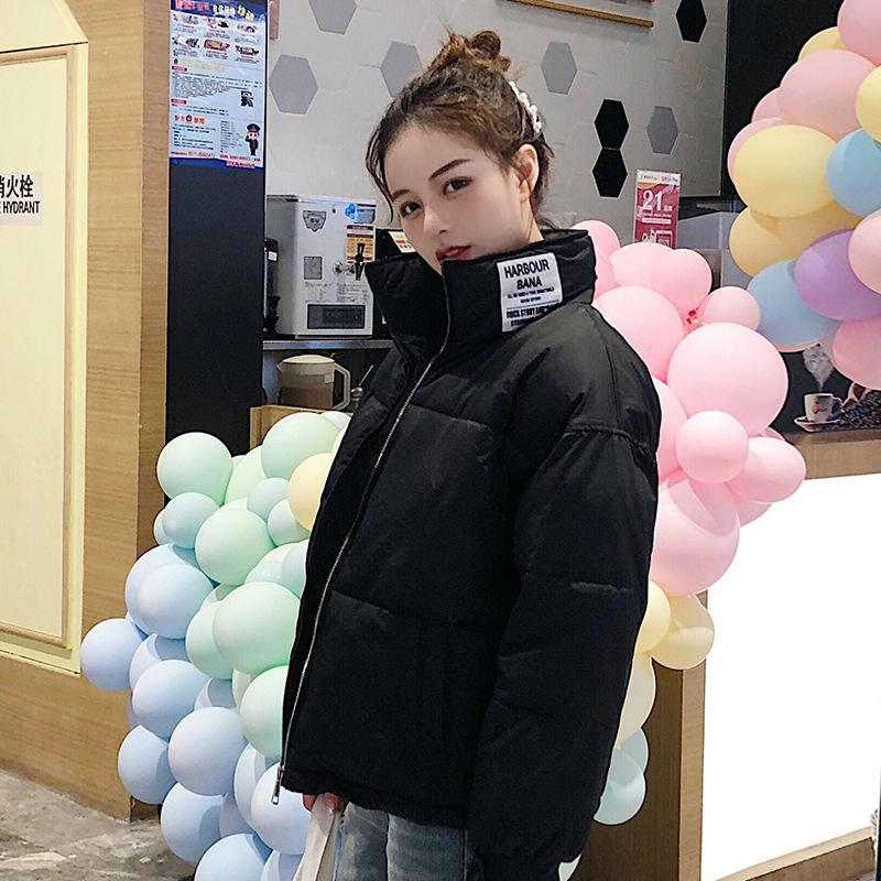 Fashion-Jacket Women Winter Fashion Warm Slim Solid Short Style Cotton Padded Parkas Coat Stand Collar