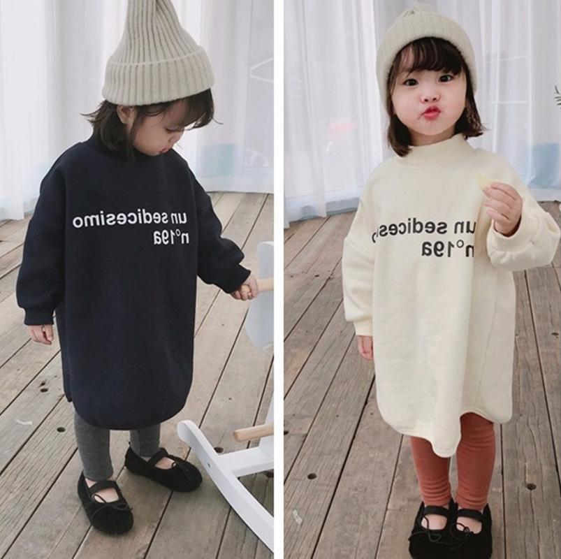 Осень Зима корейский стиль девушки флис длинный рукав толстовки платье 2-6 лет дети теплый хлопок повседневная одежда Топы T200107