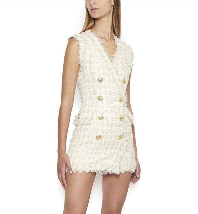 Совершенно новый с этикеткой Tag высокое качество оригинальный дизайн женщин необработанный край твид платье двубортный золотой проволоки рукавов Silm карьера платье