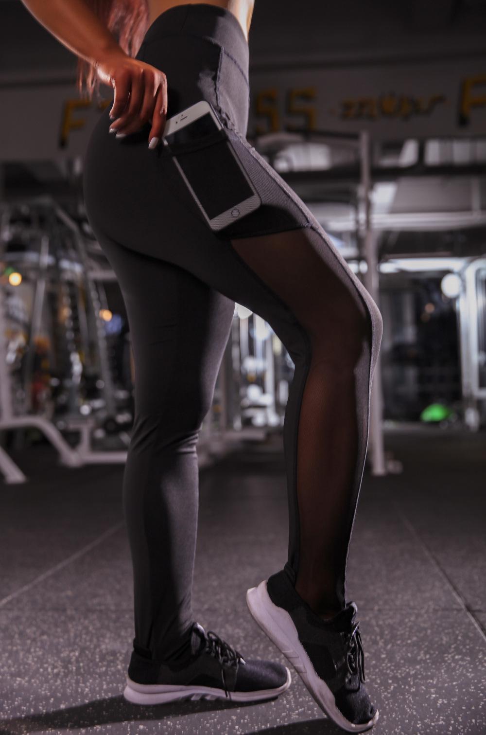 Femmes Designer Fashion Side Pocket Yoga Pantalons longs Mesh Brochage Leggings séchage rapide en cours de remise en forme de sport Collants Pantalons 2020