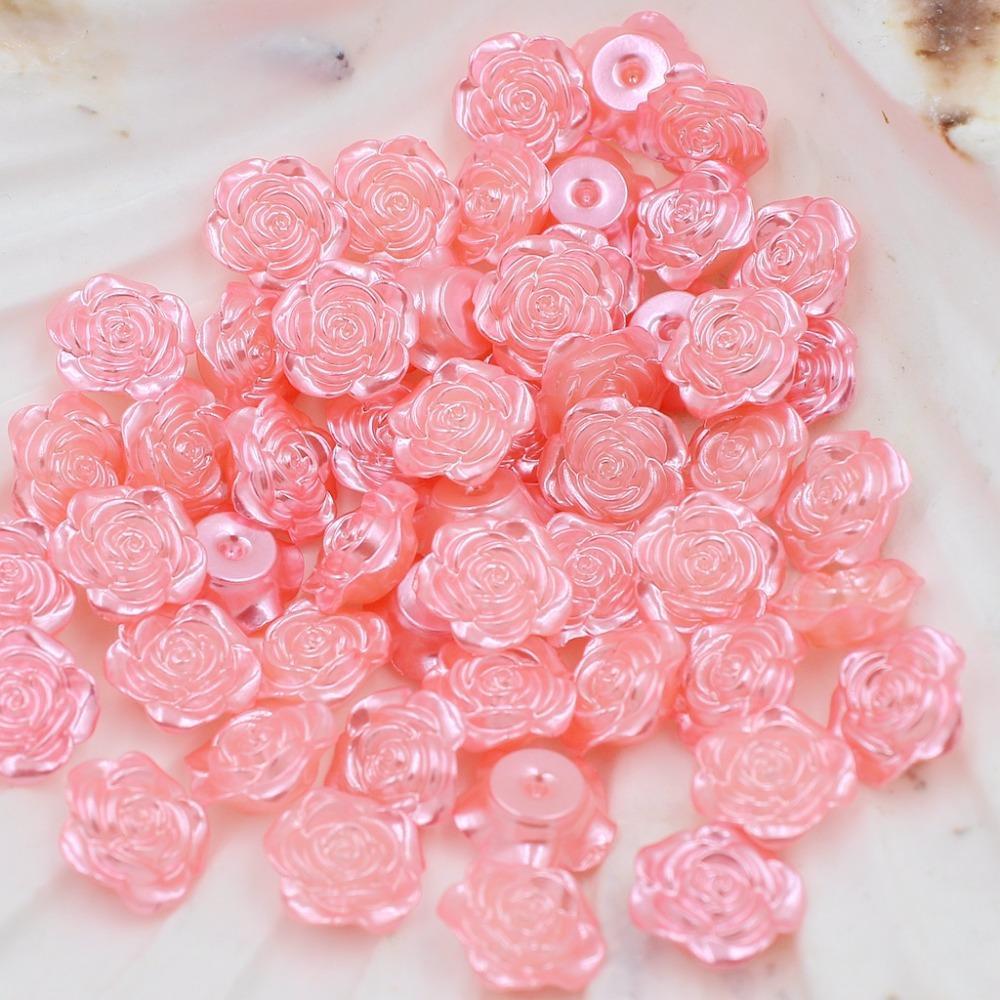 Großhandel Sweet Pink 300 Stücke 12mm Handwerk ABS Exquisite Rose Blume Nachahmung Perlen Flatback Perlen Perlen Sammelalbum Diy