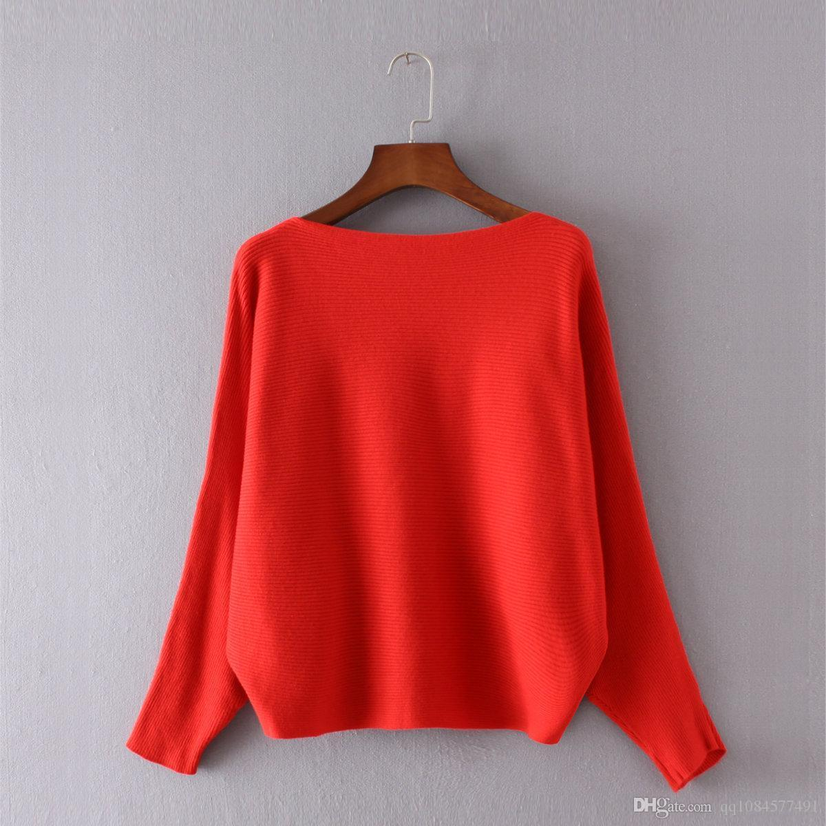 Fashion Women Sweaters And Pullovers Batwing Sleeve Pullovers Slash Neck Casual Off Shoulder Sexy Knitted pull femme