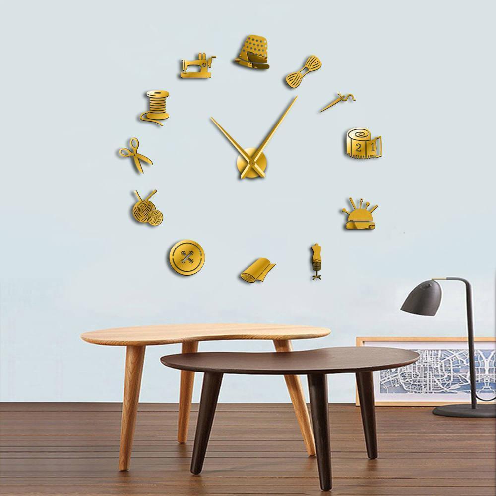 Швейные инструменты Инструменты гигантские DIY настенные часы швея дизайнер зеркальный эффект стены искусства Декор комнаты 3D бескаркасные часы Часы Y200109