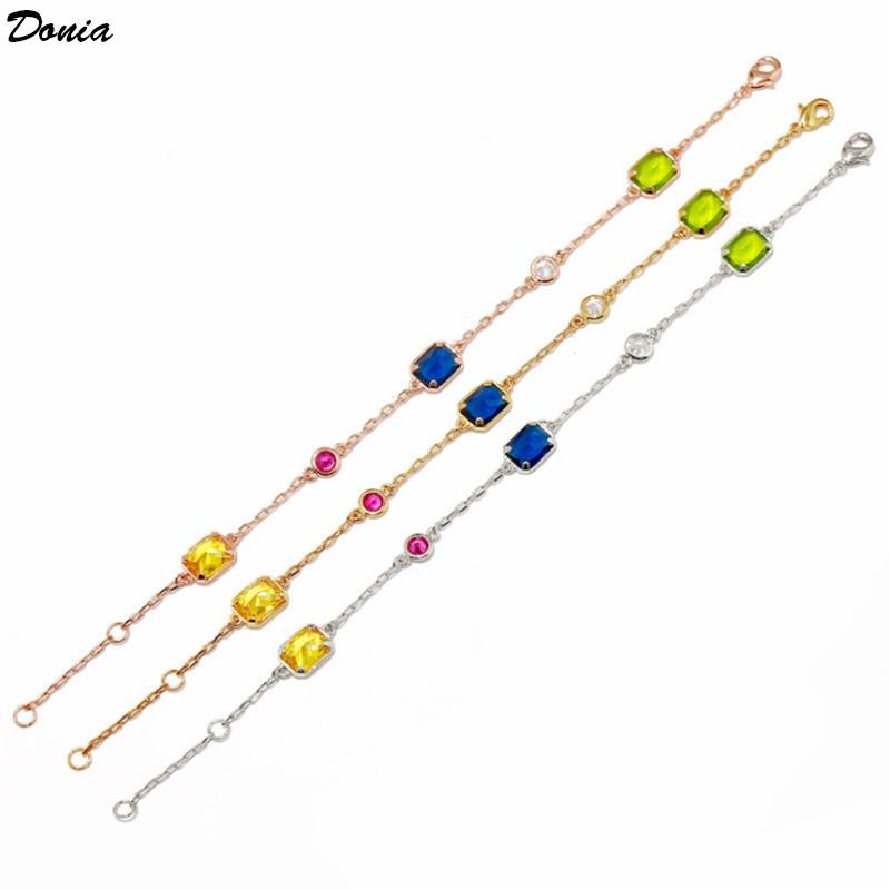 Donia jewelry party European and American fashion classic candy color multi faceted gem square color crystal copper bracelet birthday gift