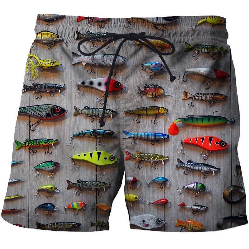 Men's Summer Beach Shorts Quick Dry Shorts with 3D Fish Print Fun Design Men's Surf