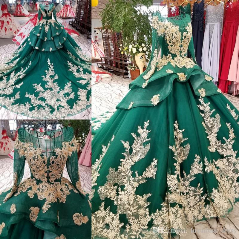Gorgeous 2019 Illusion Ball Gown crystal wedding dresses Backless Long Sleeve Bridal Gowns Vintage Lace berta wedding dress robe de mariee
