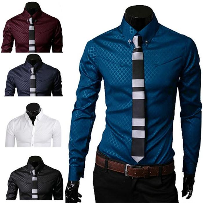 1Pcs Long Sleeve Button Mens New Slim Fit Tops Lattice Fashion Cotton Casual Man Male Dress Shirts Long Sleeve Shirts Button Top