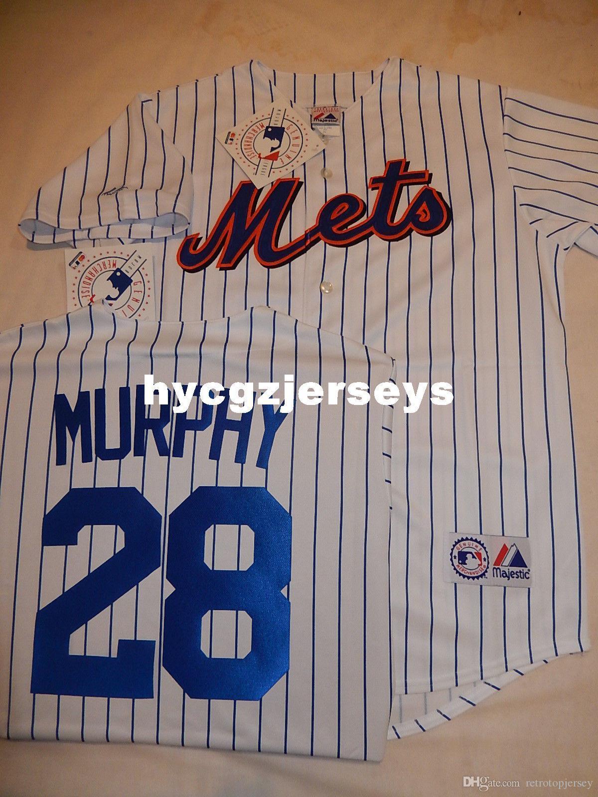 Cheap baseball Mens 2015 Top NY camicia # 28 Daniel Murphy MAGLIA BIANCA P / S Mens cucita maglie grande e grosso formato XS-6XL In vendita