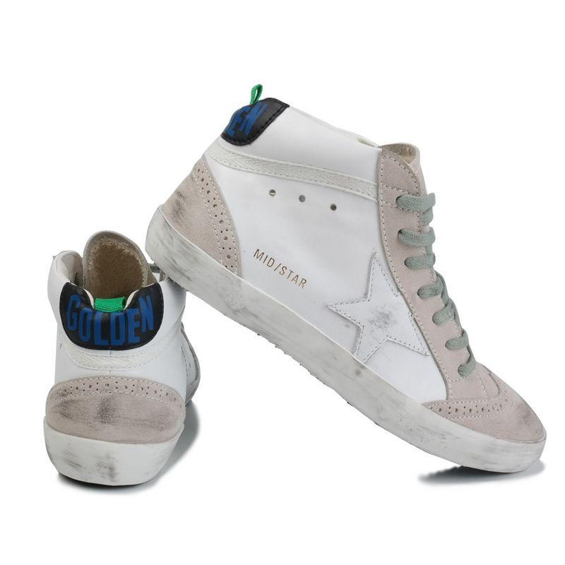 Золотой Гусь суперзвезда в середине звезды высоты верхнего кроссовки ботинки из натуральной кожи для мужчин и женщин белый классический ретро сделать старый грязный Спорт Повседневная обувь