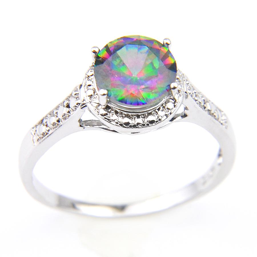 Best Seller Supply New 925 Sterling Silver Plated Small Punk Genuine Natural Mystic Topaz Crystal Gemstone Cocktail Wedding Rings For Lovers
